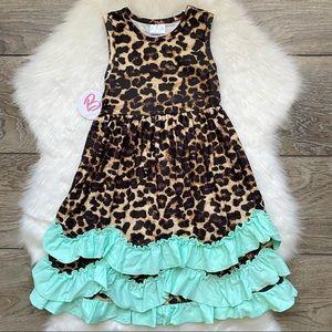 Girl Boutique Long Cheetah Ruffle Dress